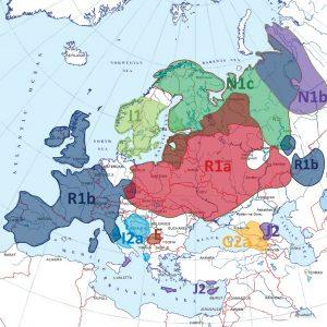 Зоны преимущественного накопления различных гаплогрупп Y-хромосомы в населении Европы (по [43], [46])